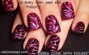 MAGENTA PINK AND BLACK ZEBRA ANIMAL PRINT FOIL NAILS: robin moses nail art design tutorial 518