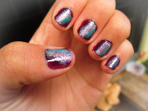 take 1- dark purple base, light purple, algae blue & glitter