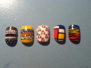 tribal nails, cherries, squares, zebra