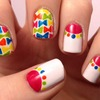 Candy Bow Tie and Half Moon Nail Art