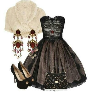Elegant beautiful lace party dress with elegant earrings