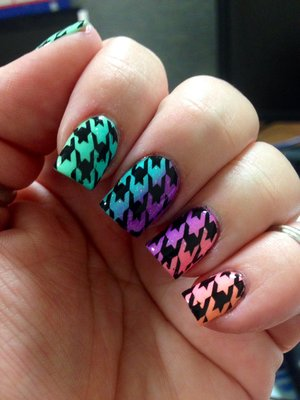 I did a gradient with Last summers China Glaze collection and stamped with Bundle Monster 322 for the houndstooth pattern
