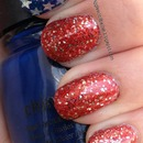 sparkling July 4th patriotic nails!