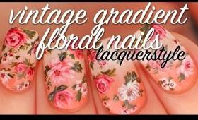 Vintage Gradient Floral Nails Tutorial   Lacquerstyle