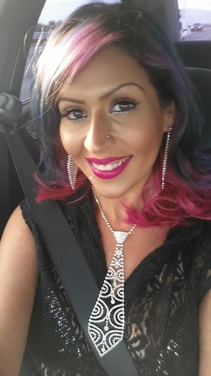 going to a criss Angel show decked out in diamonds blue hair don't care