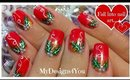 Traditional Christmas Nail Art Design | Red Holly Christmas Nails ♥