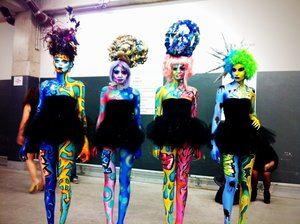 BODY PAINTING DESIGNED BY ME AND HEAD PIECES DESINGED BY ME. INSPIRED BY THE STREET ART, GRAFFITI, COLOR, AND TEXTURE