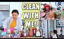 CLEAN WITH ME! | Deep Cleaning + Organizing the Fridge!