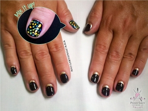 Ruffian nails with a stained glass accent nail