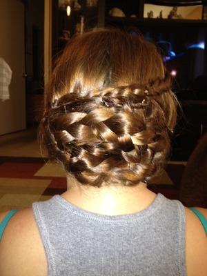my mom doing my hair