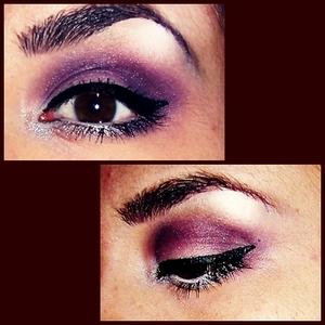 purple with eyeliner!!! :)