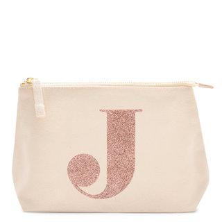 Rose Gold Glitter Initial Makeup Bag Letter J