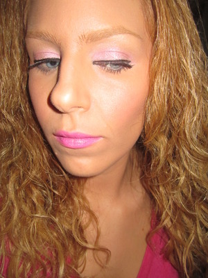 Never too much pink! Lime Crime cupcake thief on lids, countessa flourescent on lips
