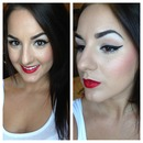 Winged Liner and Red Lip