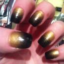 my black am fold ombré nails