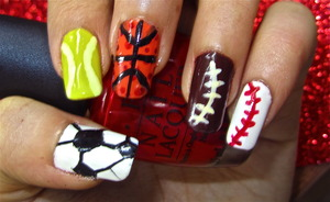 sports day nail art... to watch video tutorial for this look, SUBSCRIBE free to my youtube nailart channel: www.youtube.com/nailartbynidhi