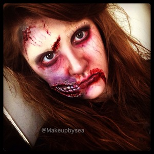 First attempt at Zombie makeup using all products from my local Halloween store!