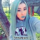 Green lip makeup look