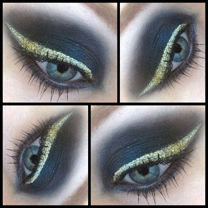I created this look with Sleek's Sparkle 2 palette and Collection's gold gel liner :)