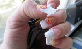 Citrus Glitter nails Easy
