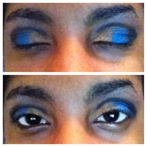 Black, blue, gold and silver