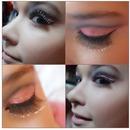 Coral and black cut crease makeup