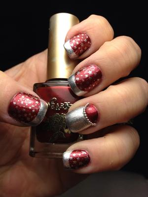 half moon (lunila mani) with star image plate design under french mani