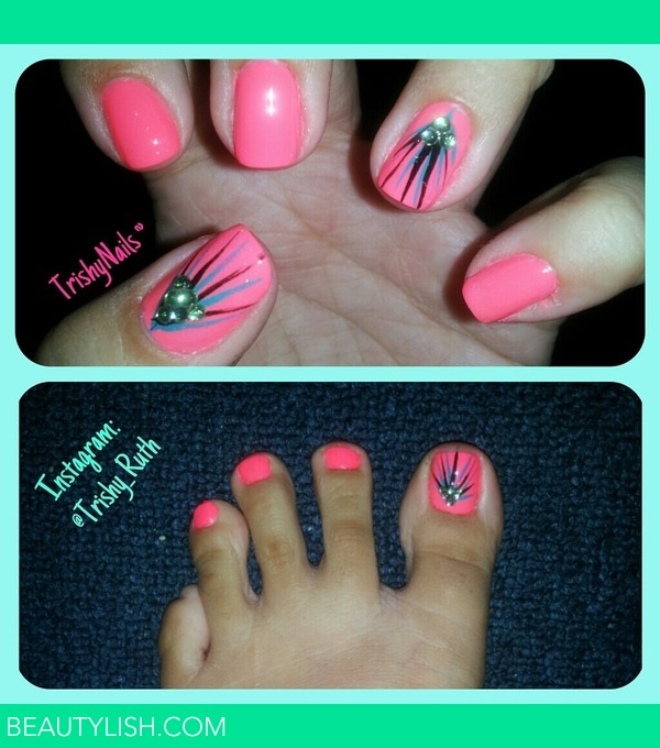 Nails - Bright Pink Nails with Feathery Design. Matching Toe Nails ...