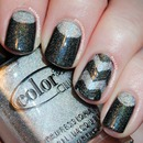 Holographic Half Moons and Chevrons Nail Art