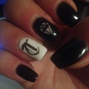 Black letter pink diamond nails