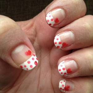 """Valentines nails, Opi Liquid Sand """"The Impossible"""" & Sally Hansen """"White Out"""""""