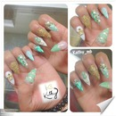 stiletto white and green nails