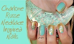 Gold and Mint Tribal Nail Design