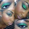 Green shadow, gold glitter eyeliner