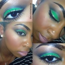 Green shadow, gold glitter eyeliner