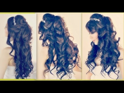 Lush Curly Princess Hairstyle Easy Formal Half Up Updo