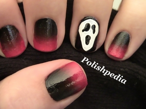 The movie is creepy..movies and this design is perfect for Wednesday.  Watch My Video Tutorial @ http://polishpedia.com/scream-halloween-nail-art.html