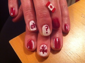 Canada nails.  red and white from an old old old polish set