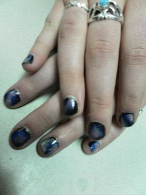 model: Madison, galaxy/nebula nails