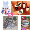One direction dress black and white nail art