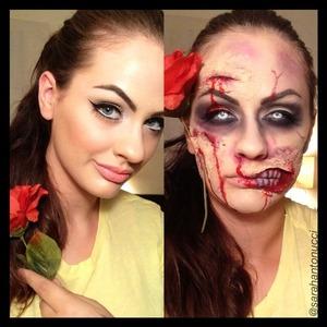Zombie Princess Belle Halloween makeup look 💀 follow me on Instagram for more looks! @sarahantonucci