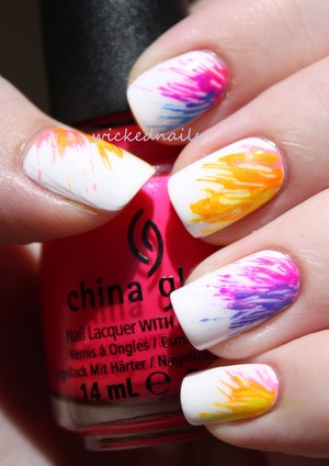 Tutorial at youtube.com/user/wickednailsrylee, this manicure was done with a white basecoat, six shades of neon polish, and a toothpick!