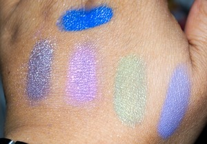 swatches - Top to Bottom, Left to Right: Hollywood - top, Sincerely, cupcake sprinkles, Lucky Jade and Destne146