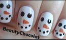 Quick and Easy Christmas Snowman Nail Art - Christmas Nails