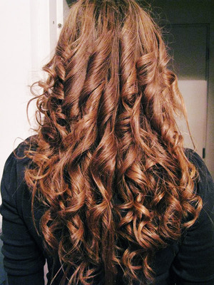 Curls made with the flat iron. :D