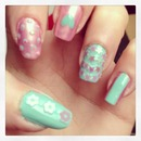 pink & blue with nail art