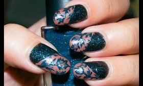 Nail Art With Nail Polish ~ Teal and Gold Lace Design
