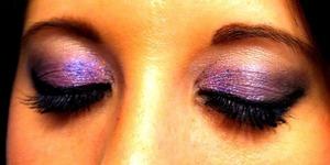Sephora baked purple shadow trio, sephora purple glitter, urban decay primer , benefit they're real mascara