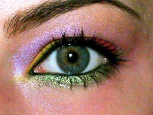 HIP eye shadow duo - Platinum  MAC Eyeshadows : Chrome Yellow, Orange MAC Pigments: Bright Fushia, Violet Chartreuse