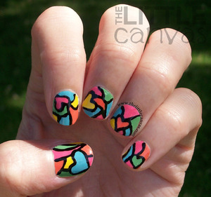 Had a break so had to have short nails.  Decided to do a color block stained glass look. http://www.thelittlecanvas.com/2013/06/stained-glass-heart-manicure.html